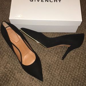 Givenchy Black Suede Pointy Toe Heels
